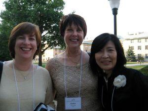 Deborah Shaw, Janice Sharp, Akiko Enokido about to go into the Hunt opening.