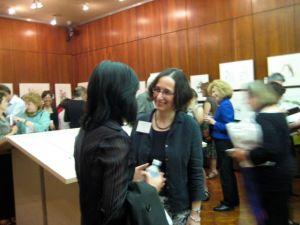 Akiko Enokido talking with Lugene Bruno