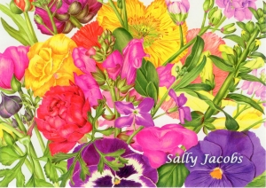 Sally Jacobs postcard invitation front; painting of garden flowers