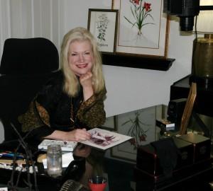 Morgan painting in her studio