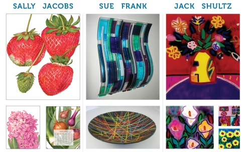 Artwork from the Open Studio Invitation by Sally Jacobs, Sue Frank and Jack Shultz
