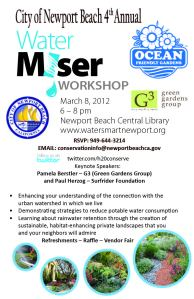 Poster for the City of Newport Beach 4th Annual Water Miser Workshop