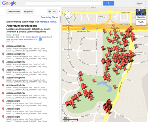 Google map of the locations of Arboretum introductions