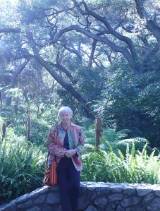 Joan Keesey in Fern Canyon at Descanso Gardens with Coast Live Oaks