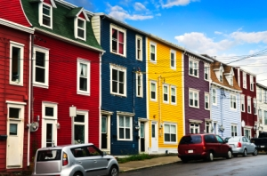 Street with colorful houses in St. John's, Newfoundland, Canada.