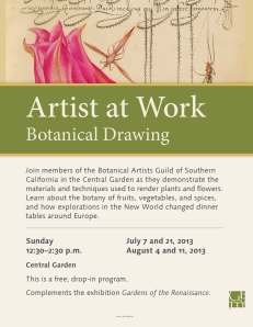 "Getty signage and flyer announcing the ""Artist-at-Work Demonstration: Botanical Drawing,"" © 2013 J. Paul Getty."