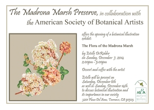 "Invitation to ""The Flora of the Madrona Marsh,"" original artwork by Estelle De Ridder."