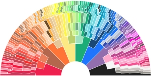 Stephen Von Worley's graphic showing the expansion of Crayola colors from the original eight crayons. To view an interactive graphic, where rolling your mouse over a color displays the color's name, go to: http://www.datapointed.net/visualizations/color/crayola-crayon-chart-bow/