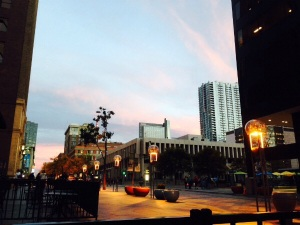 The 16th Street Mall in Denver at Sunset, photo by Gayle Uyehara, © 2014.