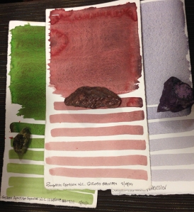 "Testing of pigment, showing the original pigment ""rock"" with the swatch test. Photo by Deb Shaw."