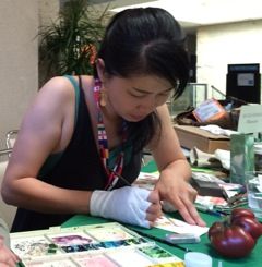 "Asuka Hishiki demonstrating during the ""Weird, Wild & Wonderful"" Symposium at The Huntington, July 2015. Photo by Gilly Shaeffer, © 2015."