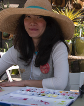 Ellie demonstrated botanical art with BAGSC at the Bowers Museum and at Roger's Gardens.