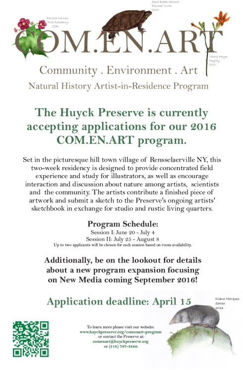 Huyck Artist-in-Residence poster. Download a PDF of the poster for reproduction by clicking on the link at the end of this article.