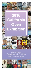 "Cover of the Call for Entries PDF brochure for ""2016 California Open Exhibition"" at TAG Gallery, in Bergamot Station Arts Center, Santa Monica, California."
