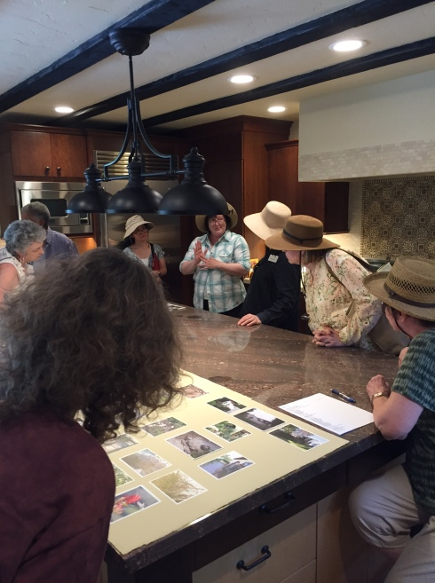 """Gathered around the center island in the kitchen, looking at """"before and after"""" photos, Cordelia's artwork, and listening to information about construction details. Photo by Clara Josephs, © 2016."""