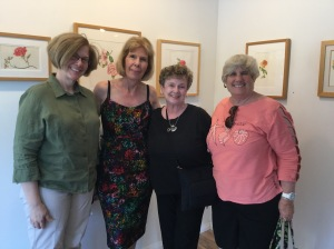 BAGSC members at Patricia Mark's opening reception included (from left to right): Melanie Campbell-Carter, Patricia Mark, Marilyn Parrino, and Nancy Beckham. Photo credit: Tania Marien, © 2016.