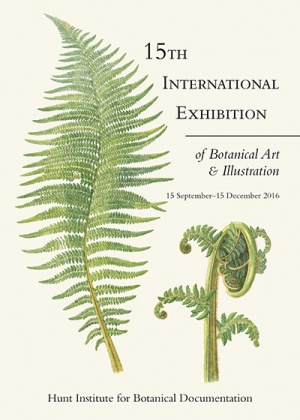 Cover of the Hunt 15th International Exhibition Catalog. Cover art: Soft Tree Fern, Dicksonia antarctica [Dicksonia antarctica Labillardière, Dicksoniaceae], watercolor on paper by Laurie Andrews (1936–), 2008, 76.5 × 56.5 cm, HI Art accession no. 8078, reproduced by permission of the artist.
