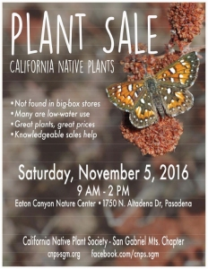 Poster for California Native Plant Society Plant Sale.