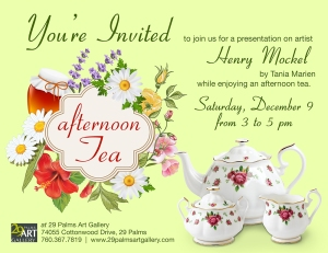 "Invitation to ""Afternoon tea and the serigraphs of Henry R. Mockel,"" a lecture by Tania Marien."