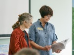 Kat Powell (L) and Janice Sharp (R) at the BAGSC Quarterly Meeting at Madrona Marsh Nature Center. © 2018, Lance Hill. Editorial or promotional use permitted for electronic or printed media by the Botanical Artists Guild of Southern California and the Friends of Madrona Marsh. Please provide photo credit to Lance Hill.