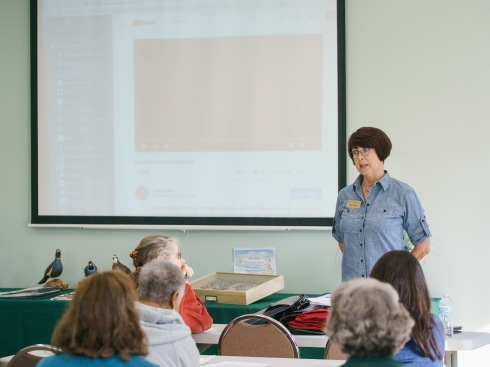 BAGSC President Janice Sharp presiding over the meeting at the BAGSC Quarterly Meeting at Madrona Marsh Nature Center. © 2018, Lance Hill. Editorial or promotional use permitted for electronic or printed media by the Botanical Artists Guild of Southern California and the Friends of Madrona Marsh. Please provide photo credit to Lance Hill.