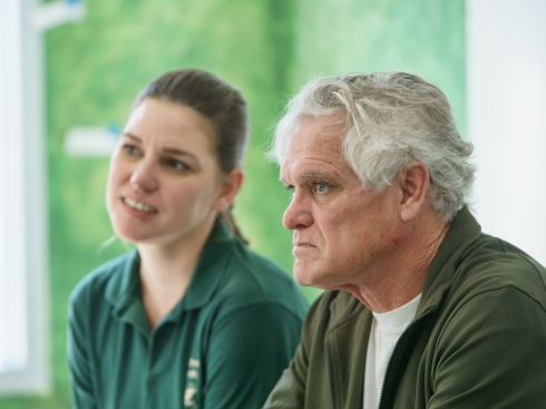 Hilary Jamieson (Madrona Marsh staff member) and her father Dave Jamison, a Marsh volunteer, at the BAGSC Quarterly Meeting at Madrona Marsh Nature Center. © 2018, Lance Hill. Editorial or promotional use permitted for electronic or printed media by the Botanical Artists Guild of Southern California and the Friends of Madrona Marsh. Please provide photo credit to Lance Hill.