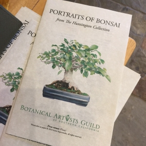"BAGSC handouts for ""Portraits of Bonsai from The Huntington Collection."" Cover image, Ficus retusa, watercolor on paper, © 2018 Anna Suprunenko. Brochure and photo by Olga Ryabtsova, © 2018."