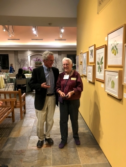 "Andrew Mitchell who hung ""Out of the Woods"" and ""Amazing Trees"", with BAGSC member Leslie Walker."
