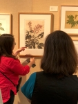 """Olga Ryabstova spoke about the print-making process, as well as her piece in """"Out of the Woods,"""" Roxburgh Fig Ficus auriculata San Diego Botanic Garden, Encinitas, California."""