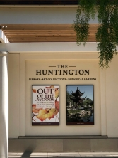 Signage at the front entrance of The Huntington Library, Art Collections, and Botanical Gardens.