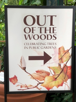 One of many free-standing signs in the Conservatory.